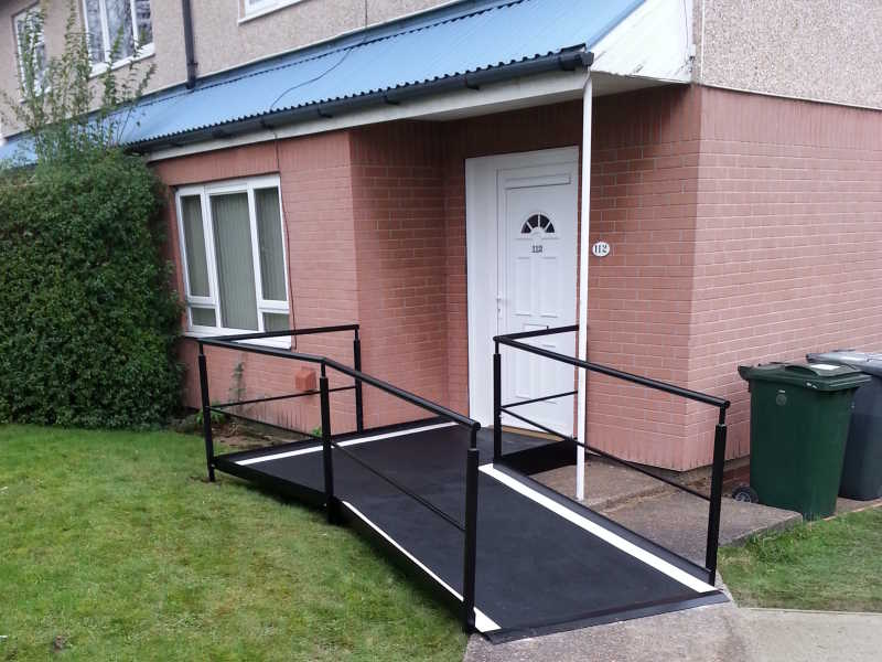 Safety ramp fitted at Kendray, Barnsley, in January 2016, for lady who was stuck in home by herself